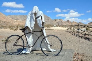 Ghost Rider, by Albert Szukalski, is a sculpture at the Goldwell Open Air Museum adjacent to the ghost town of Rhyolite. Photo credit: Chris Moran/TravelNevada